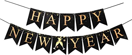 Happy New Year Eve Party Christmas Home Decorations New Years Eve Party Banner Garland Black and Gold Dot Happy New Year Bunting Banner