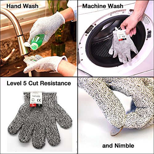 LattoGe Cut Resistant Gloves-Level 5 Protection Carving Kitchen Hand Safety Food Grade Whittling Glove for Garden Yard-work,Cutting Knives,Scissors,Peelers,Slicing Machine Washable(Medium)