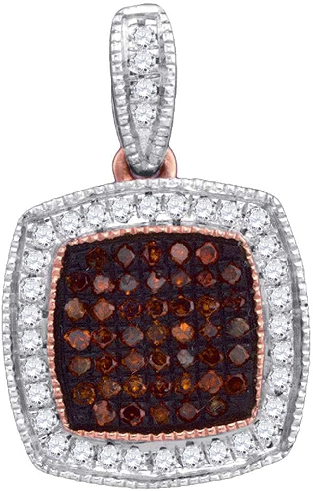 Red Diamond Pendant 1//5ct 10k Rose Gold