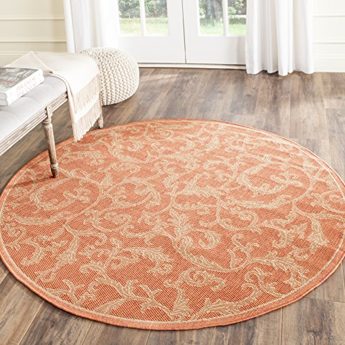 Safavieh Courtyard Collection CY2653-3202 Terracotta and Natural Indoor/Outdoor Round Area Rug, 5-Feet 3-Inch