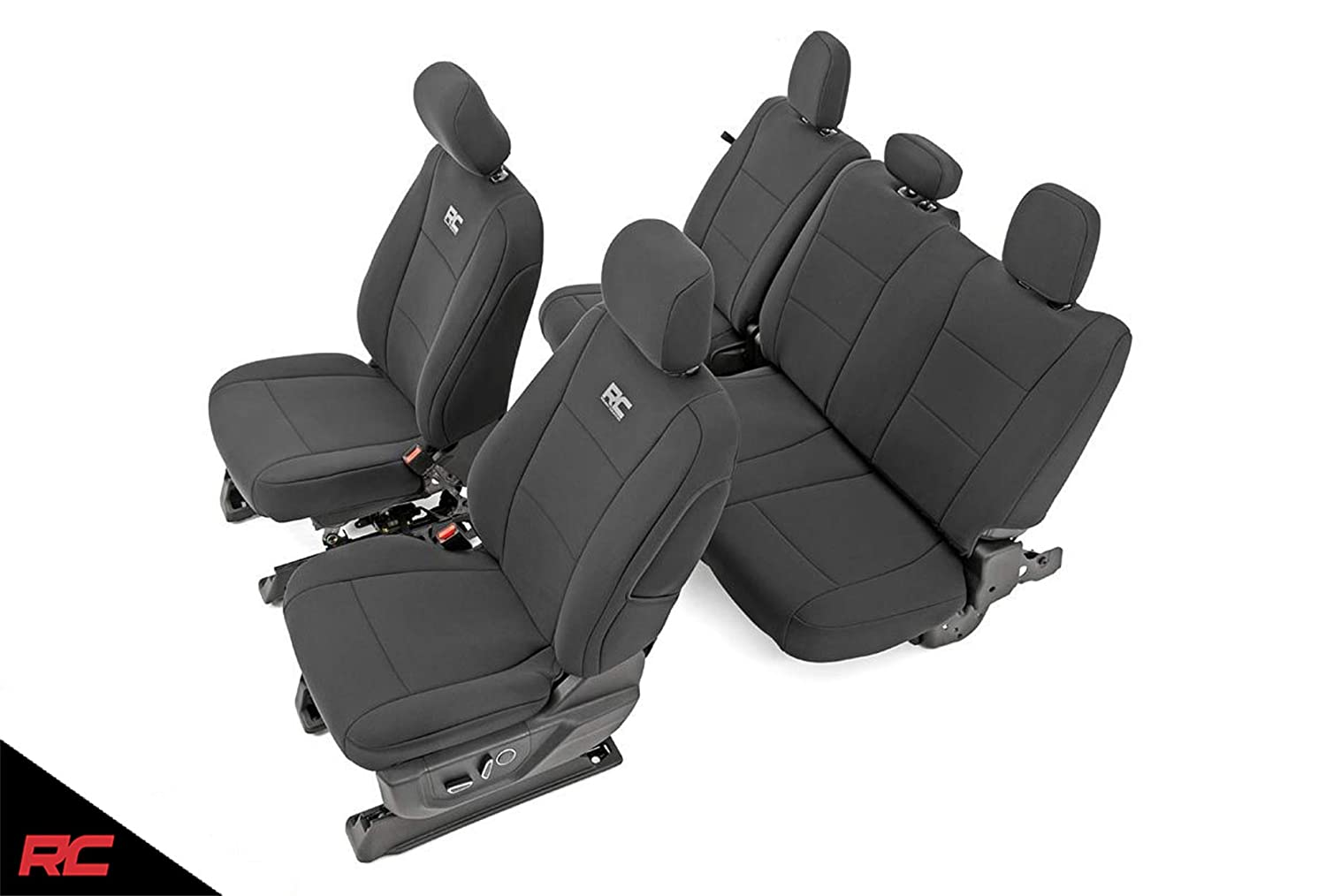 Rough Country 91018 Neoprene Seat Covers Black Front/Rear ((fits) 2015-2019 F150 XL/XLT 1st/2nd Row Water Resistant