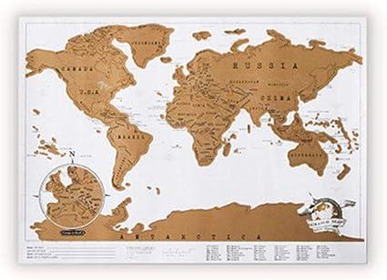 Mapa del mundo rasca y comparte tus aventuras (88 x 52 cm): Amazon.es: Oficina y papelería