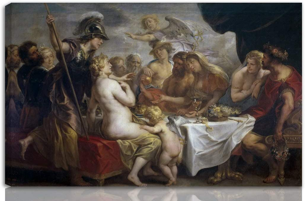Berkin Arts Jacob Jordaens Stretched Giclee Print On Canvas-Famous Paintings Fine Art Poster Reproduction Wall Decor-Ready to Hang(Golden Apple of Discord)#NK