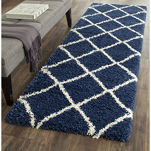 Safavieh SGH281C-24 Hudson Shag Collection and Ivory Area Rug, 2'3″ x 3'9″, Navy