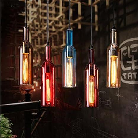 New Modern Pendant Light Color Glass Wine Bottle Diy Design Handing