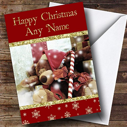 Candy Cane Bear Personalized Christmas Holiday Greetings Card (Bears Cane Candy)