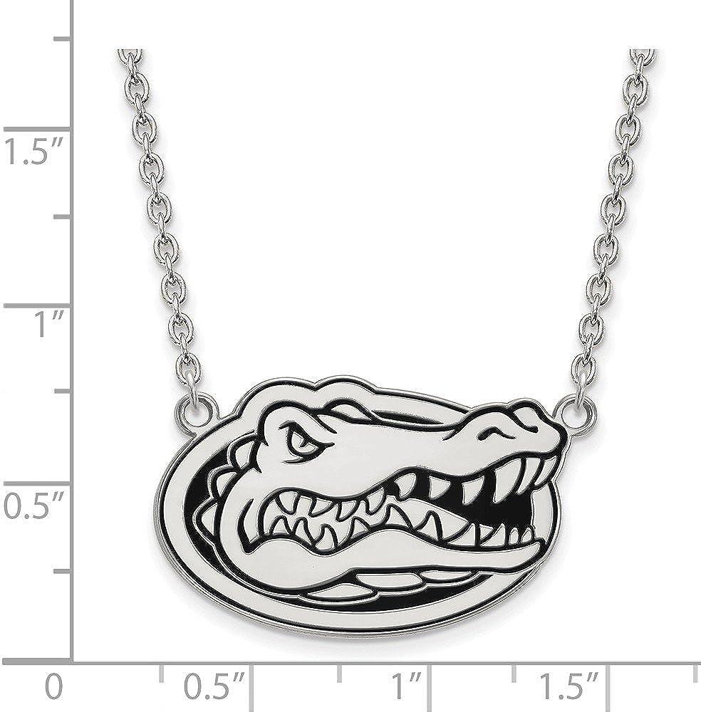 Mia Diamonds 925 Sterling Silver LogoArt University of Florida Large Enamel Pendant with Neckla