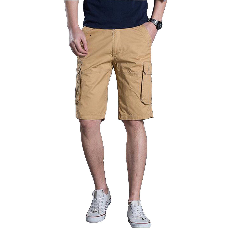 Men's Outdoor Summer Lightweight Cotton Loose Fit Multi Pocket Cargo Shorts