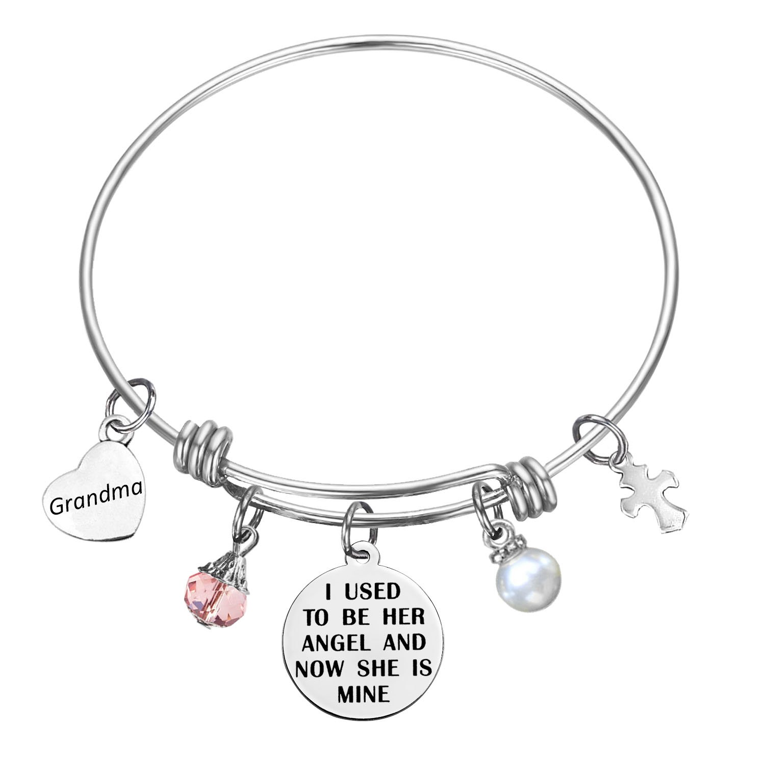 SOOFUN Memorial Jewelry I Used To Be His/Her Angel Now He's/She Mine Memories Expandable Bangle Bracelet (In memory of grandma)