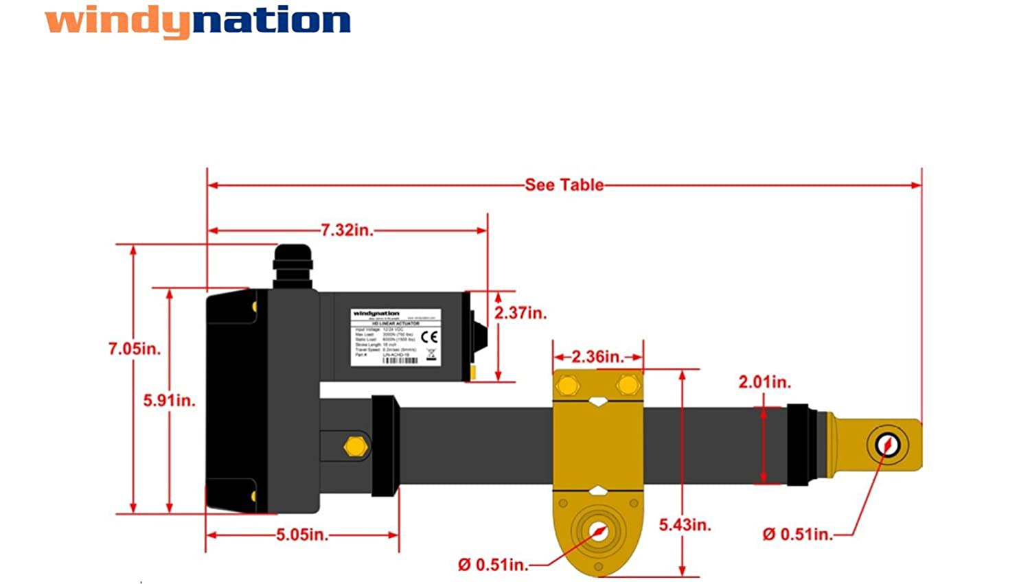 Windynation 24 Inch Stroke Heavy Duty Linear Actuator 12 Or Limit Switch Wiring Diagram Volt 750 Pound Lbs Maximum Lift For Solar Tracker Satellite Dish Gate Opener And
