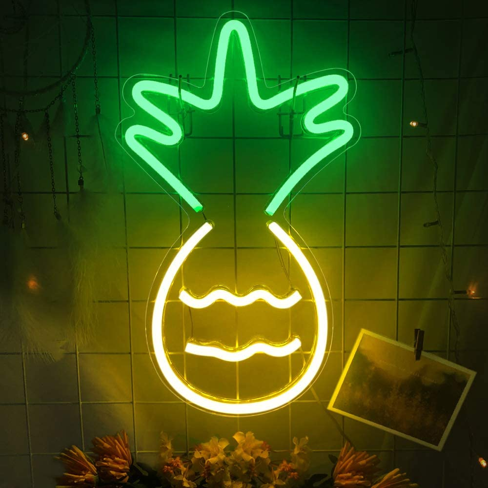 """Protecu Pineapple Neon Sign 10""""X17"""" inch 3D Art LED Signs Neon Lights Wall Sign Powered by USB, Decorative Neon Signs for Wall Decor, Birthday, Party, Bar, Home Decorations (Pineapple)"""