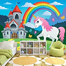 Unicorn Wall Mural Rainbow Fairytale Photo Wallpaper Girls Nursery Home Decor available in 8 Sizes Gigantic Digital