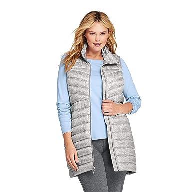 25e666ae3d3 Lands  End Women s Plus Size Print Ultralight Long Down Vest Packable