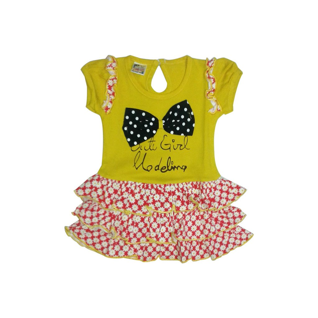 71c8ac94f3a1 LITTLE LIFE BABY FROCK 100% COTTON(LL224 B.GOLD L)  Amazon.in ...