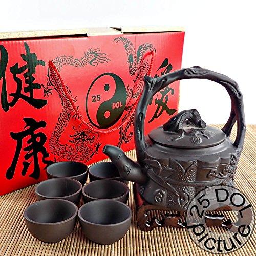 Yixing Purple Clay Tea Set 8 Pieces - Teapot (350ml - 12Oz) + Lid + 6 Cups - The