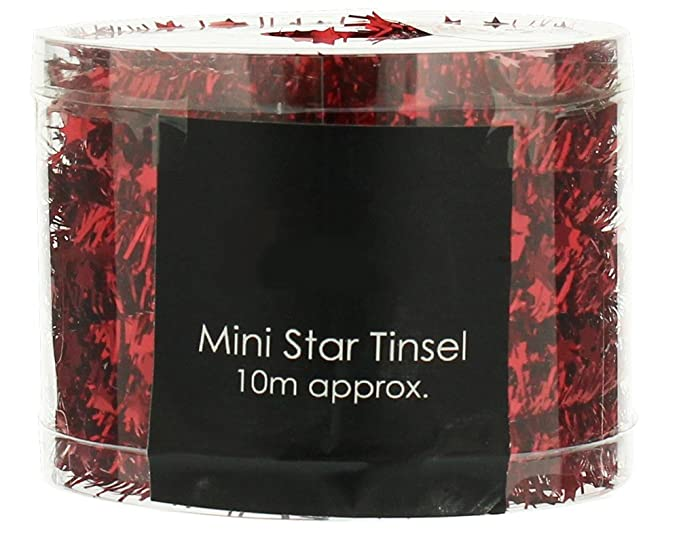 Christmas Tinsel Transparent.Red Mini Star Tinsel Garland For Christmas Decoration 10m