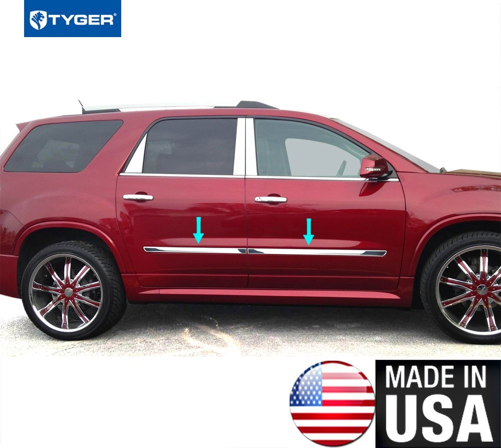 Tyger Auto TYGER Works With 2007-2016 GMC Acadia 1.5' Body Side Molding Trim 4PC - remove logo