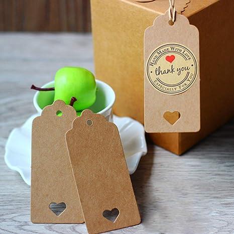 Label mit Jute Schnur, Etiketten 50x Kraftpapier Geschenk Anhänger Tags