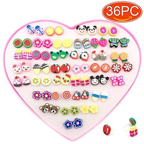 Elesa Miracle Kids Little Girl 36 Pairs Hypoallergenic Fimo Stud Earrings Value Set, Animal, Fruit, Flower Shaped