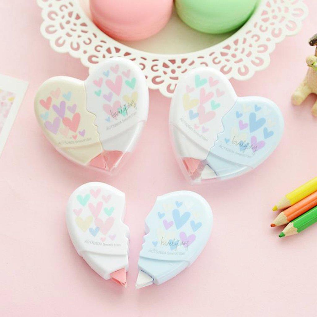 papeler/ía Kawaii para estudiantes Cinta correctora de coraz/ón Fogun oficina escuela suministros 10 m
