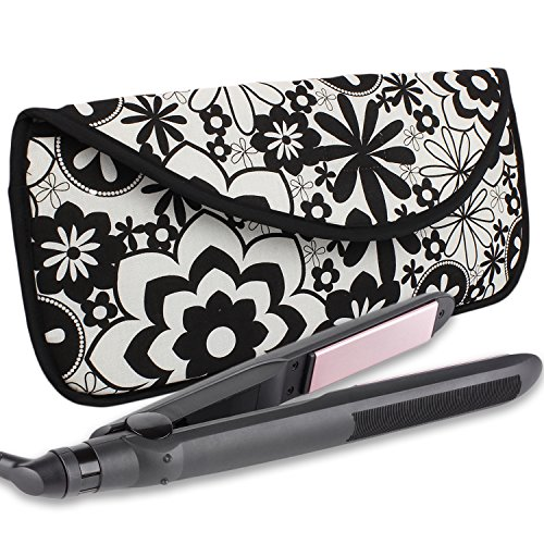 Hot Iron Case (Portable Hot Flat Iron Hair Styling Tools Travel Case by bogo Brands (Black w/White Flowers))