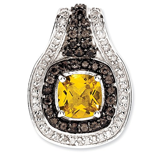 Jewelry Stores Network Citrine & Smoky Quartz Diamond Pendant 22X17mm in Sterling Silver 1.45Ct
