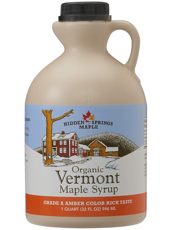 Hidden Springs Maple Organic Vermont Maple Syrup, Grade A Amber Rich, 32 Ounce, 1 Quart, Family Farms, BPA-free Jug