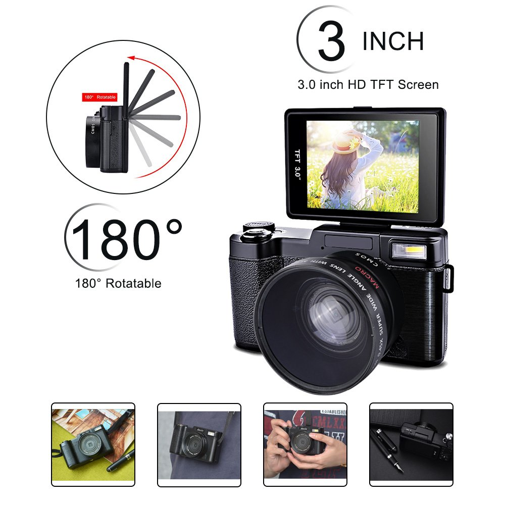 Digital Camera, SEREE Camcorder Full HD 1080P 24.0 Megapixels 4x Digital Zoom Retractable Flash light 3 Inch Screen With UV Lens
