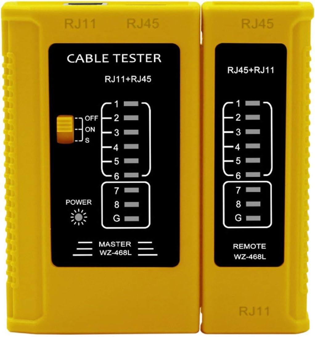Probador de cable de red Probador multifunci/ón Comprobador de cable de tel/éfono Probador profesional de cable Rj45 Probador de cable de red Amarillo