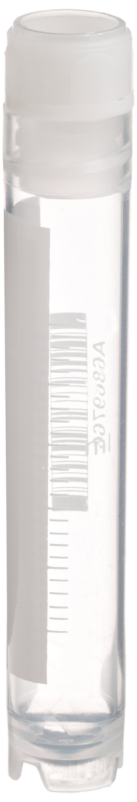 Globe Scientific CryoClear 3005 Polypropylene Barcoded Cryogenic Vial, 4mL Capacity, Sterile, Internal Threads, Attached Screwcap with Molded O-Ring, Round Bottom, Self-Standing (Case of 500)