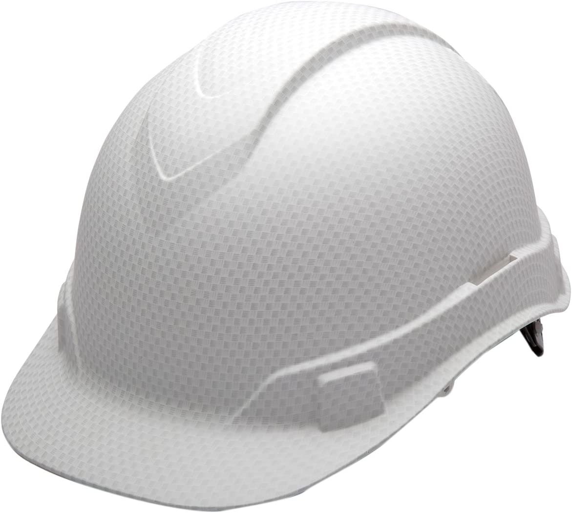 Pyramex Ridgeline Cap Style Hard Hat, 4-Point Ratchet Suspension, Matte White Graphite Pattern