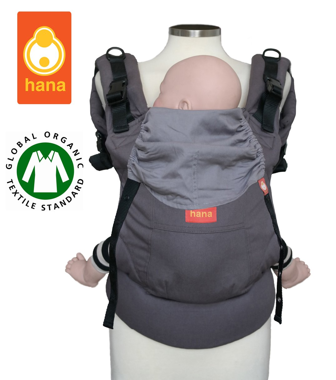organic cotton front and back carrier 3.5-20 kgs Hana baby carrier Grey-yellow
