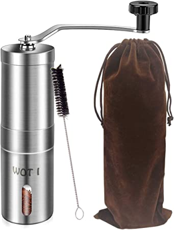Moulin /à Caf/é Manuel Premium c/éramique /à Main R/églable Portable C/éramique avec Verre de R/éserve Suppl/émentaire Brosse de Nettoyage Taille compacte parfaite pour la maison le bureau ou en voyage