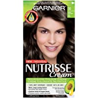 Garnier Nutrisse Cream Hair Color in 30 Intense Dark Brown. Grey Hair Cover Up, Hair Dye with Natural Conditioning Oils
