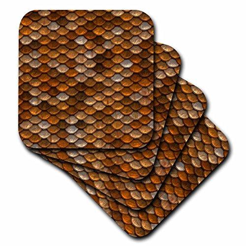 3dRose Print Copper Scales Coasters