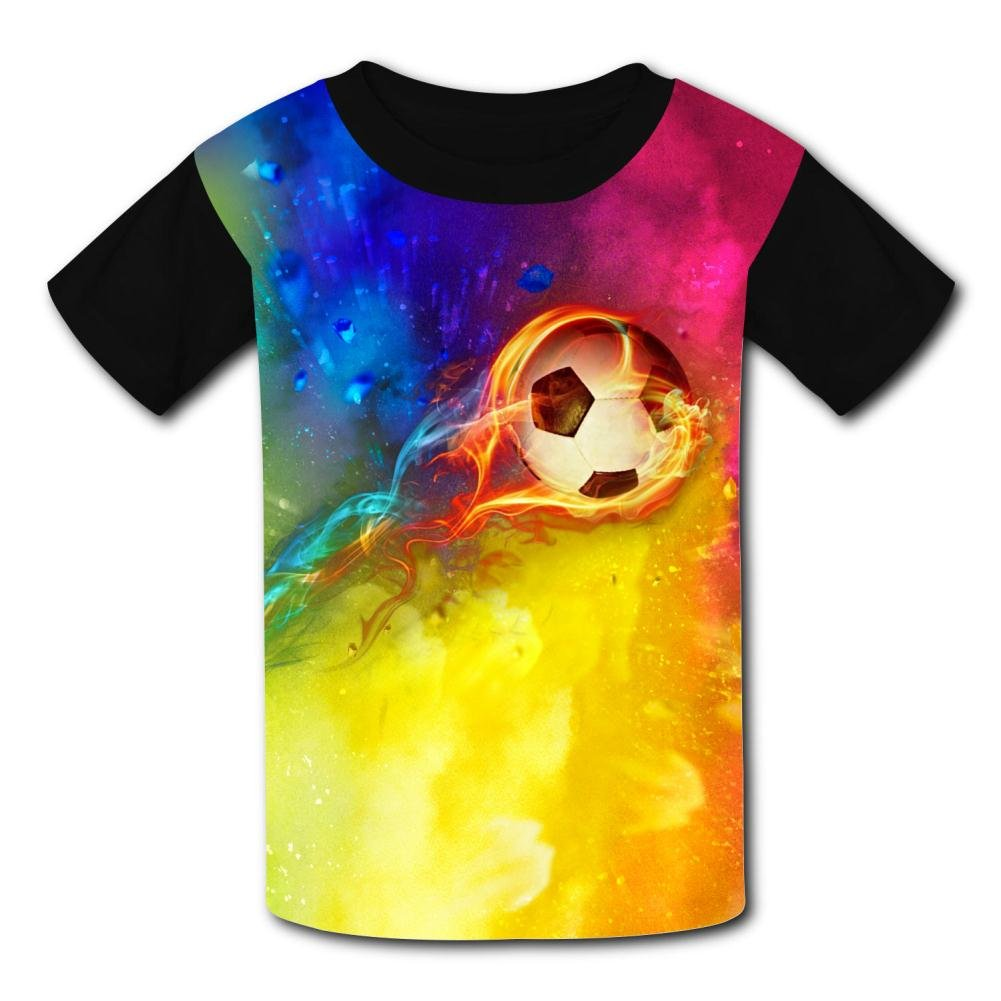 Elcacf Kids//Youth Burning Leap Football 2018 World Cup T-Shirts Short Sleeve Children Tees