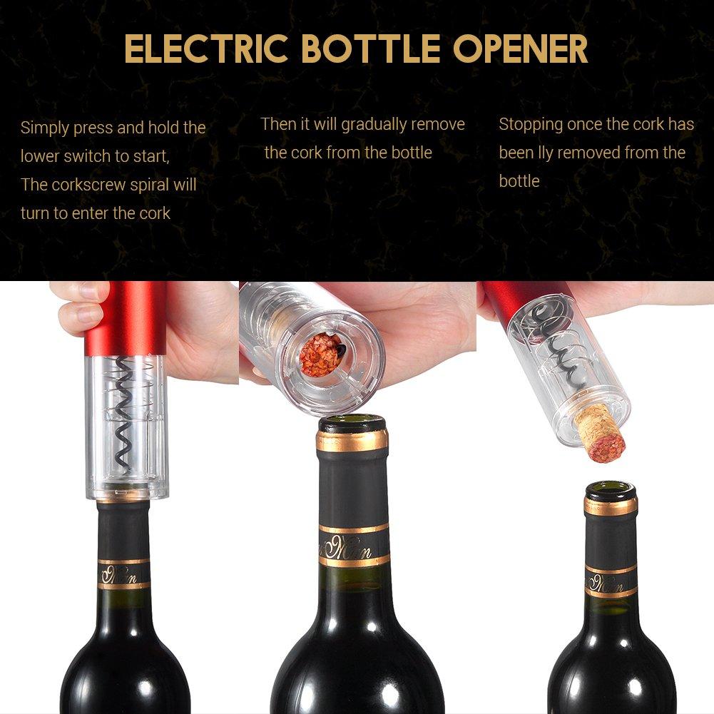 Surenhap Sacacorchos Electrico Abridor de Vino Abrebotellas Profesional con Bater/ía Incorporada Cortador de Aluminio para los Amantes del Vino y la Enolog/ía