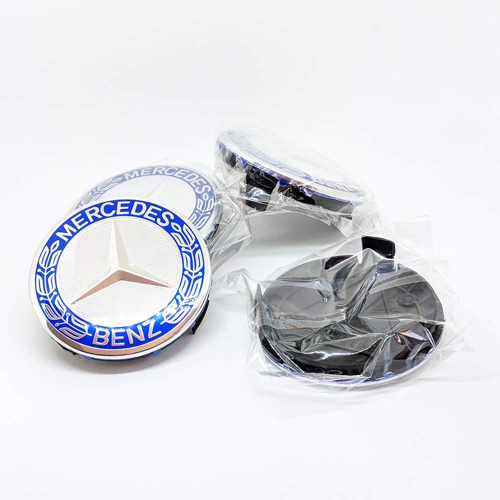 Mercedes-Benz Lot de 4 Cache-moyeux de Roue pour Mercedes-Benz Bleu 75 mm