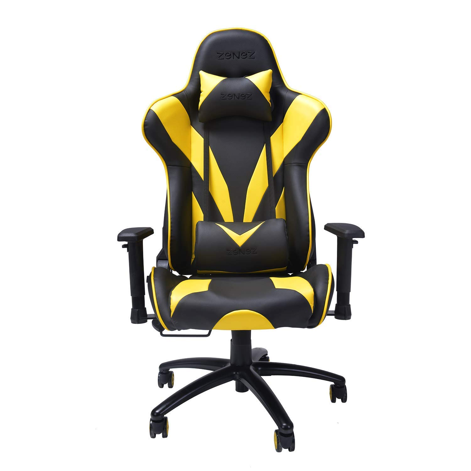 ZENEZ Gaming Chair Video Game Chairs Racing Style PU Leather High Back Adjustable with Headrest and Lumbar Support for Long Sessions of Computer Gaming or Office Working Chairs (Yellow) by ZENEZ