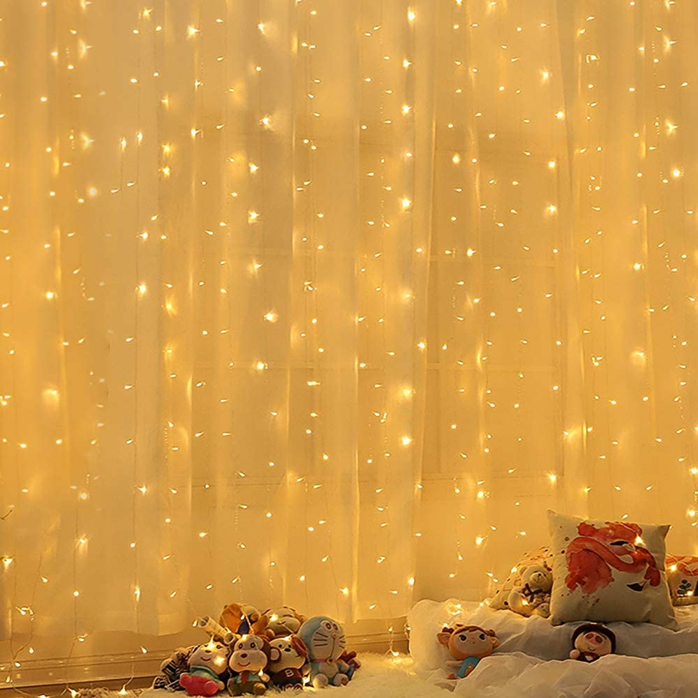 N\A Window Curtain String Lights, 300 LED 9.8ftx6.6ft 8 Lighting Modes Waterfall Lights with Memory for Bedroom Wall Party Indoor Outdoor Decor