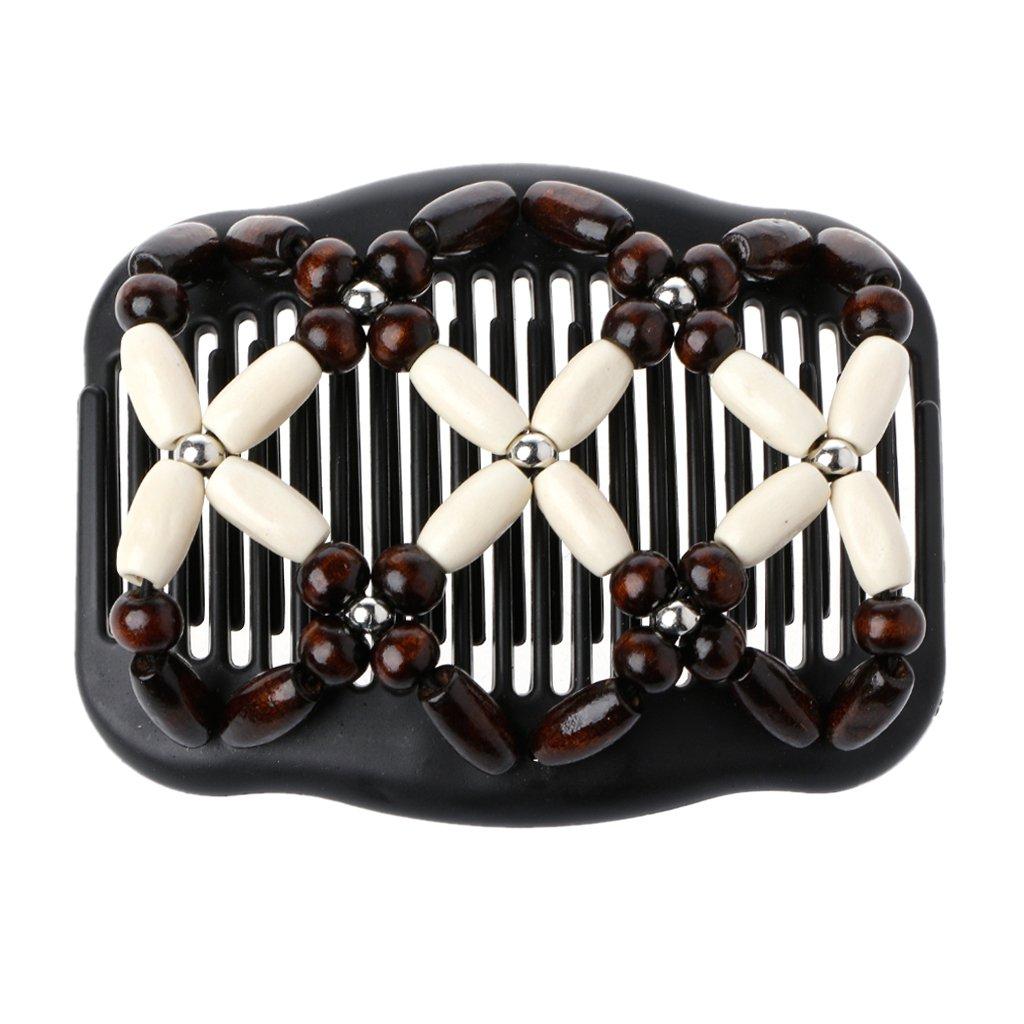 Tebatu Magic Wood Beads Double Women/Ladies Hair Comb Stretchy Hair Combs Clips Beige 11x8cm/4.33x3.15