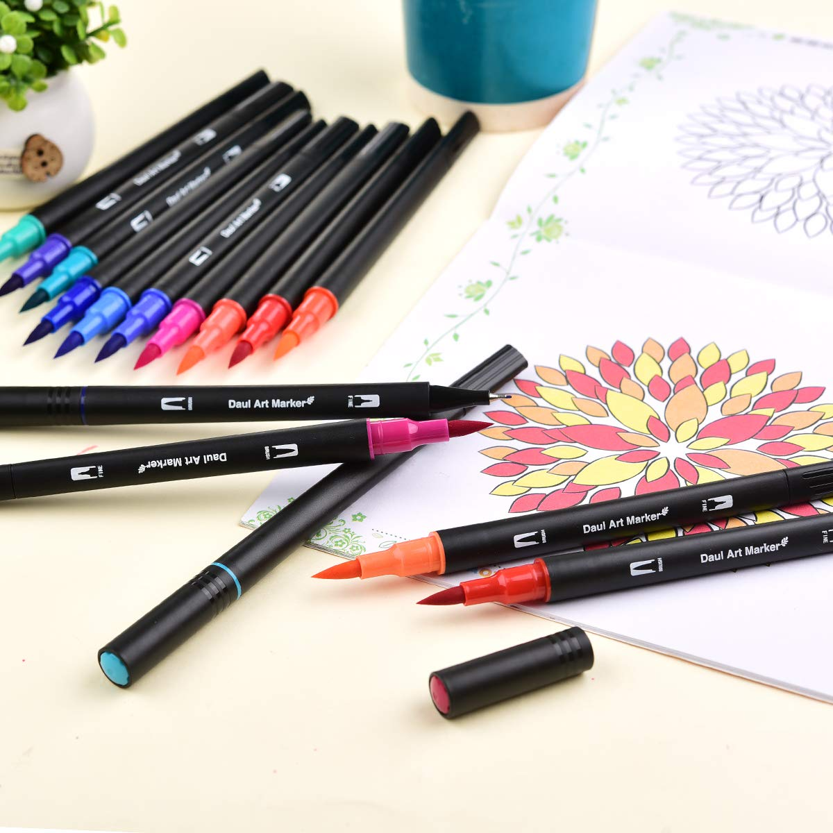 Southsun Art Dual Tips Coloring Brush Fineliner Color Pens, 72 Colors of Water Based Planner Pens for Calligraphy Drawing Sketching Coloring Book Bullet Journal Art Projects, Back to School Supplies