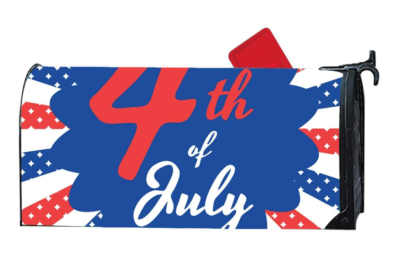 KSLIDS 4th of July Magnetic Mailbox Cover - Glowing Decorative Vintage Mailbox Wrap for Standard Size