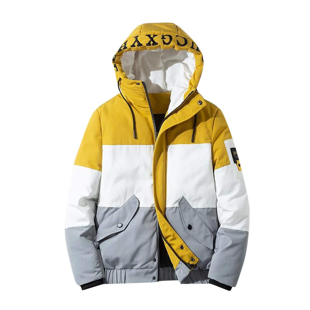 Allywit-Mens Autumn Winter Hoodie Cotton-Padded Warm Jacket Packable Light Coat Outerwear Yellow by Allywit-Mens