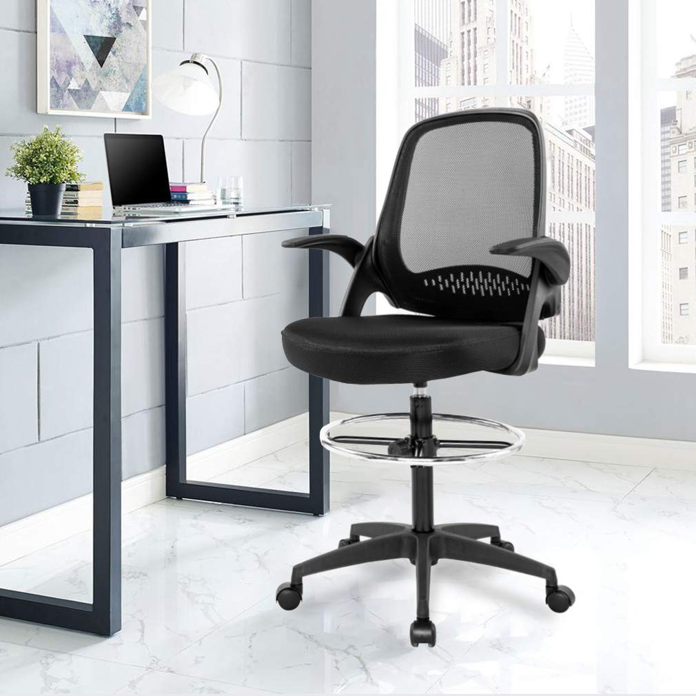 Drafting Chair Tall Office Chair Desk Chair Mesh Computer Chair Adjustable Height with Lumbar Support Flip Up Arms Swivel Rolling Executive Chair for Standing Desk by BestOffice (Image #6)