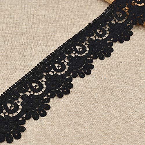 (Embroidered Lace Edge Trim Ribbon DIY Wedding Dress Sewing Craft White Black (Color - Black-7.5cm) )