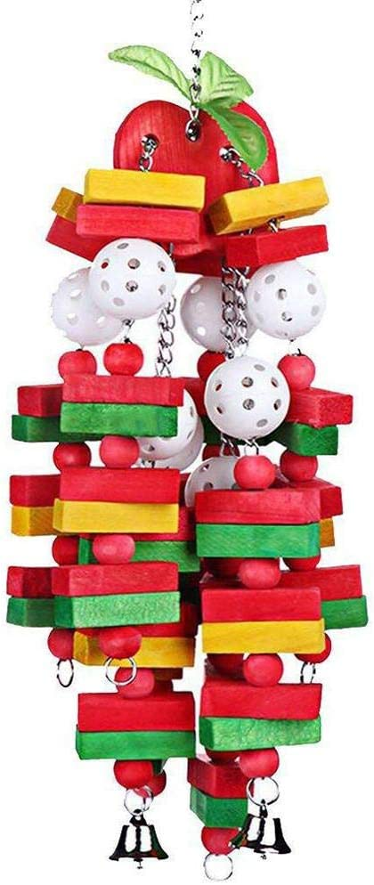 Parrot Bite Toys Dailyfun Parrot Chewing Toy African Grey and Cockatoos Gifts Bird Block Toys with Bells for Medium Parrots and Birds Like