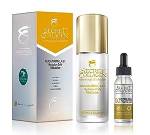 Secret Collagen Multi Vitamin E, A & C Hydration Daily Moisturizer 50ML & 50X Apple & Grape Stem Cell Age Defying Concentrate 30 ML (Bundle)