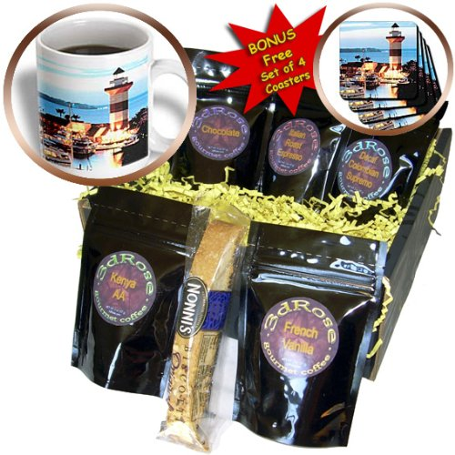 3dRose Harbor Town Lighthouse At Hilton Head Island At Dusk Coffee Gift Basket, Multi