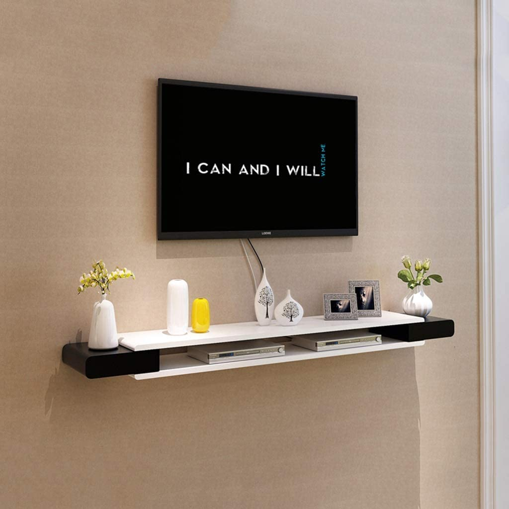 Amazon Com Wall Shelf Black And White Tv Cabinet Set Top Box Shelf Living Room Tv Wall Background Wall Hanging Shelf Bedroom Wall Decoration Storage Shelf Home Kitchen